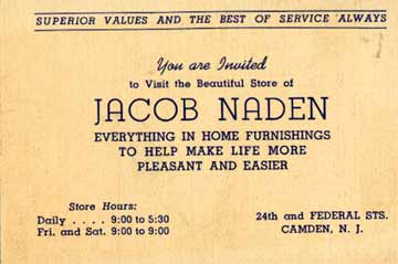 Camden streets federal street business card for the jacob naden store at 24th federal street store reheart Image collections
